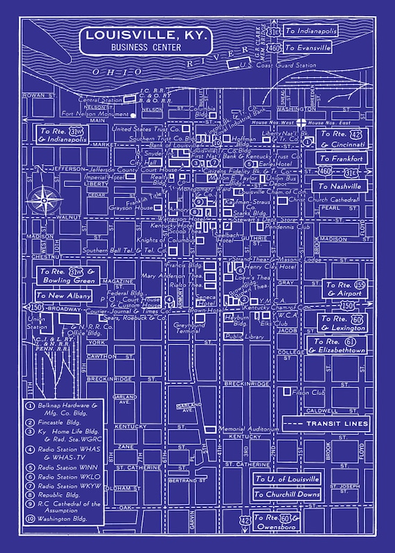 1949 Vintage Map of Downtown Louisville Blueprint Map Print Poster