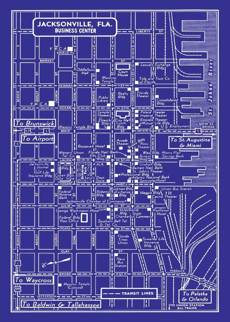 1949 vintage map of downtown jacksonville florida blueprint for Florida blueprint