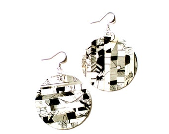 SALE Comic Book Earrings / Upcycled Jewelry / Recycled Manga Book / Gift Idea