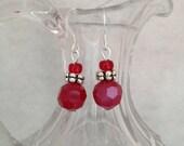 Ruby red faceted earrings