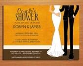 Orange Formal Dress Couple's Bridal Shower Customized Printable Invitations /  DIY