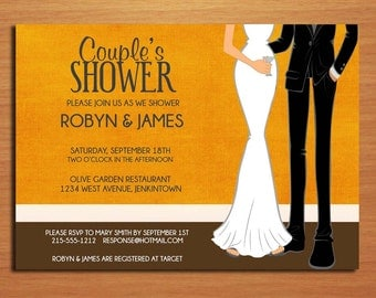 Orange Formal Dress Couple's Bridal Shower Customized Printable Invitations /  DIY