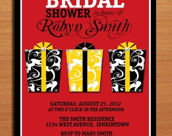 Fancy Gifts Red and Yellow Damask Bridal Shower Customized Printable Invitations /  DIY