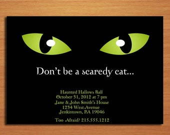 Scaredy Cat Halloween Party Customized Printable Invitations /  DIY