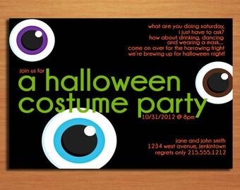 Spooky Eyes Halloween Party Customized Printable Invitations /  DIY