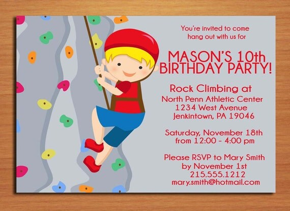 rock climbing boy birthday party invitation cards printable, Einladungen