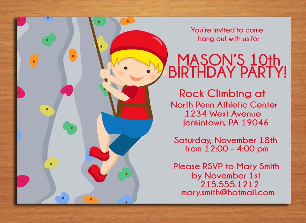 Rock Climbing Boy Birthday Party Invitation Cards PRINTABLE – Birthday Party Invitation Cards