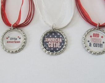 Fourth of July Bottlecap Necklaces - Party Favors