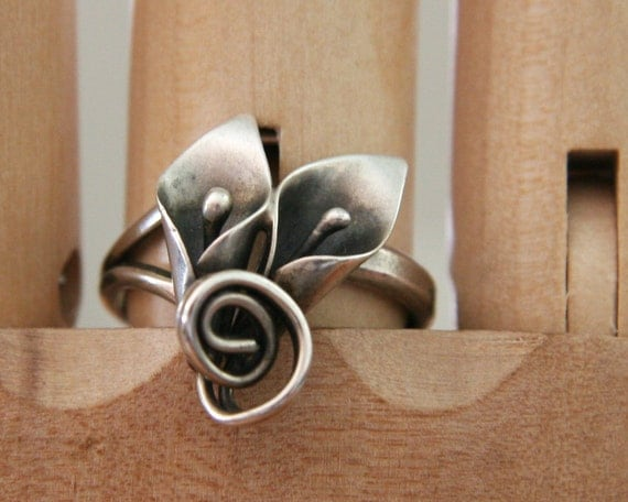 Vintage 1940s Stuart Nye Double Calla Lily Sterling Silver Ring -:- Adjustable