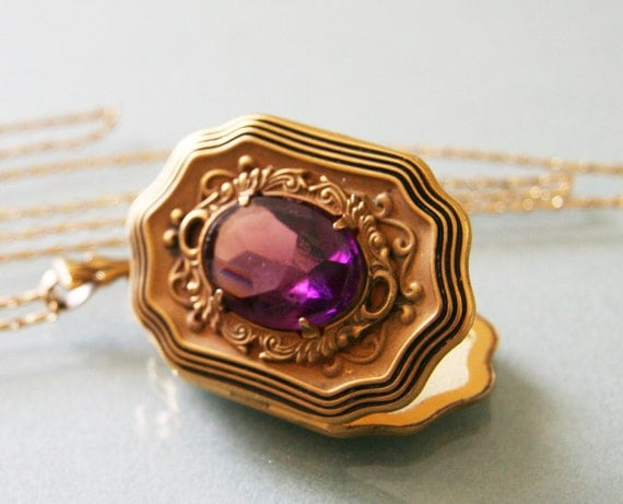 RESERVED FOR BUNNYCAKES / Antique 1930s Large Gold & Amethyst Locket -:- Victorian Revival