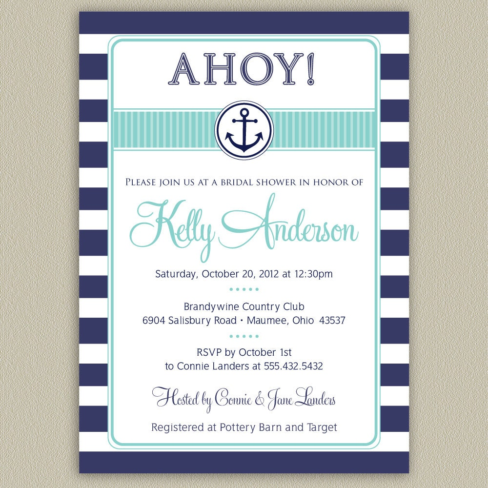 Nautical Anchor Printable Bridal Shower Invitation with Color