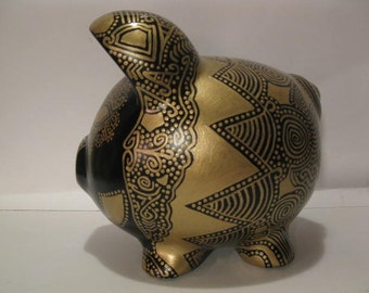 Personalized piggy bank, Gold and Pearl Two Toned Piggy Bank -  MADE TO ORDER