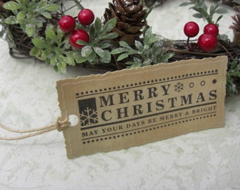 Merry Christmas Gift Tags Set of 6 Stamped and Distressed
