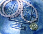 """Amethyst beaded yoga necklace with sterling silver om lotus 18"""""""