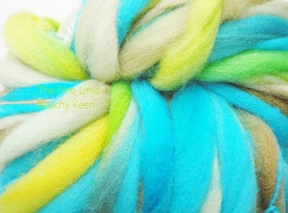 Yarn Thick and Thin Turquoise Blue, Tan, Yellow Merino - Beachy Keen - Handspun Hand Dyed Wool