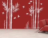 Vinyl Wall Decals wall Stickers Bamboo Decal birds decal room decor nature wall decor wall art - bamboo forest