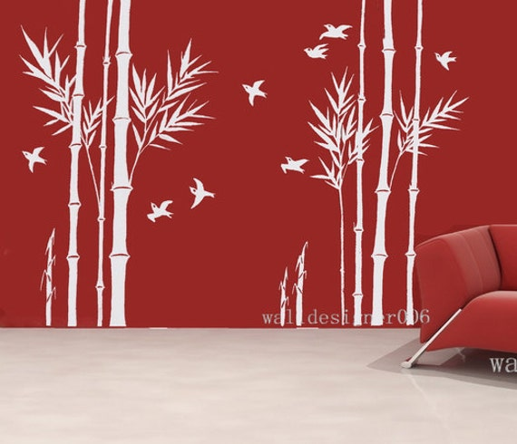 Bamboo Wall Art vinyl wall decals wall stickers bamboo decal birds decal room