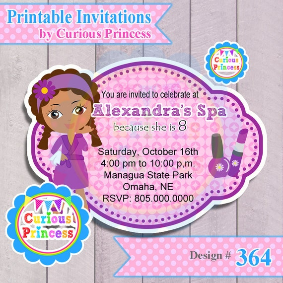 Items similar to 364 spa birthday invitations digital for Spa mask invitation template
