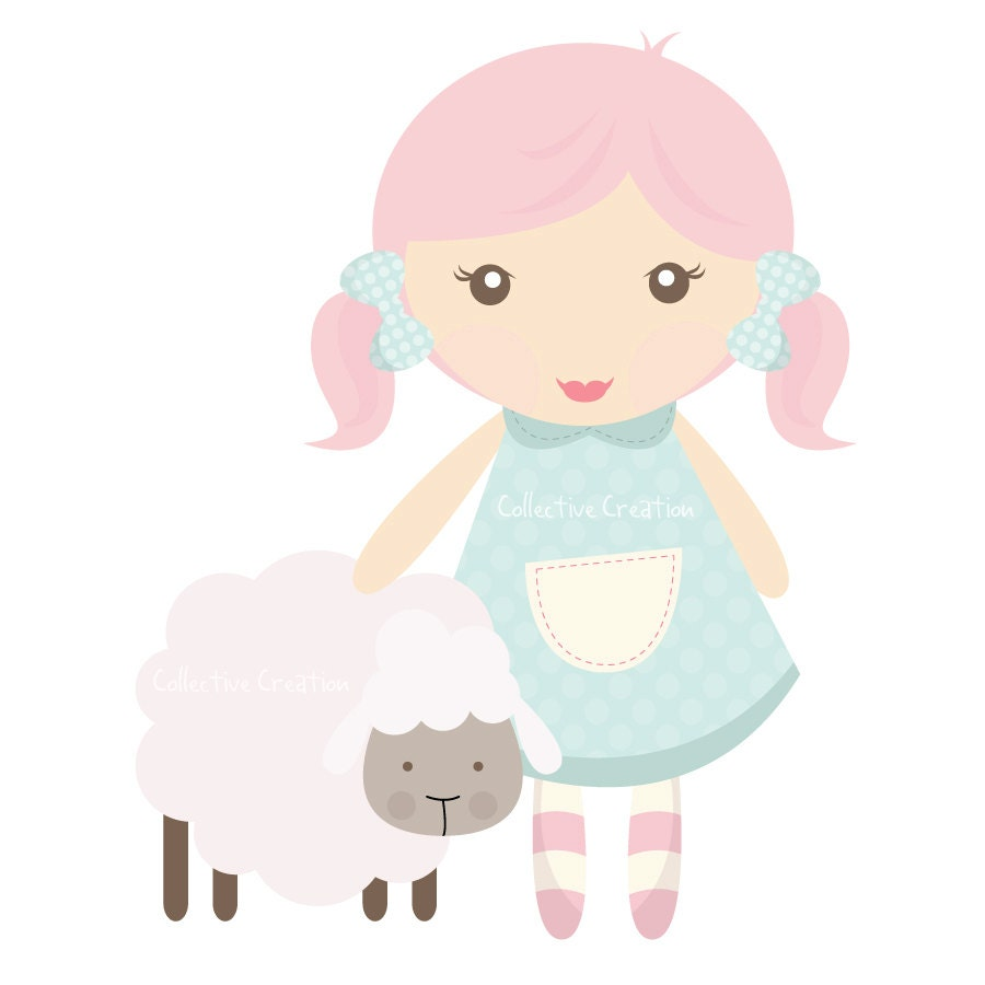 Mary had a Little Lamb Digital Clipart by CollectiveCreation