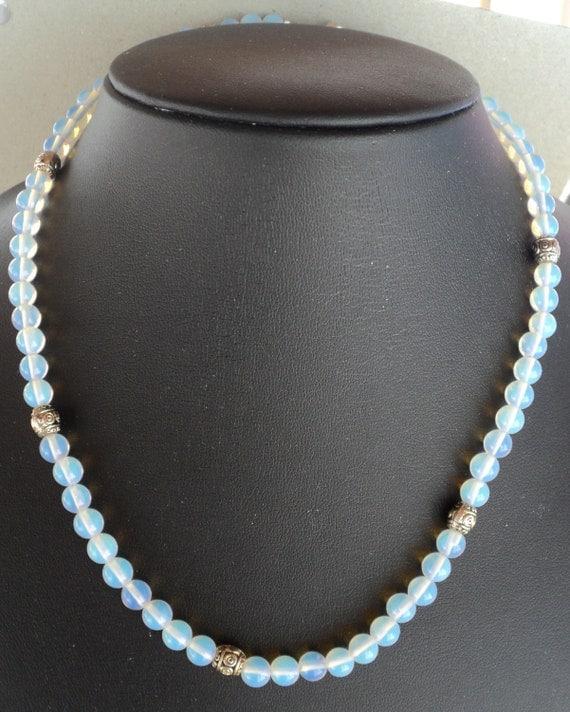 Glowing Moonstone Bali Stle Silver Bead Handmade Necklace