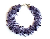 Amethyst violet lilac crochet airy gemstone multistrand necklace with seed beads