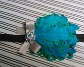 Turquoise and lime feather pad headband