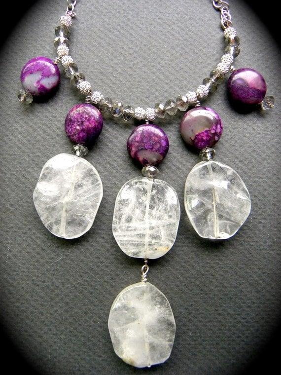 Polished Quartz and Plum Charoite Statement Necklace/ Stone Bib/ Boho Chic/ Beach Wedding