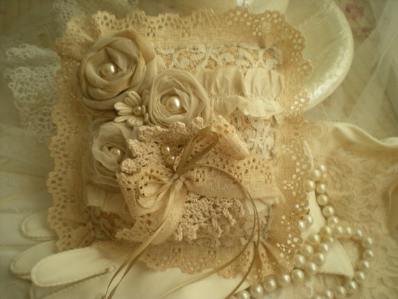 Shabby Vintage Chic Tea Stained Wedding Ring Bearer Pillow For Little Hands OOAK Free Shipping
