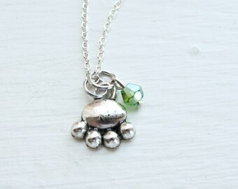 Pet Paw Necklace- Custom Birthstone Jewelry- Sterling Silver Chain- Dog, Puppy, Cat, Kitty, Kitten