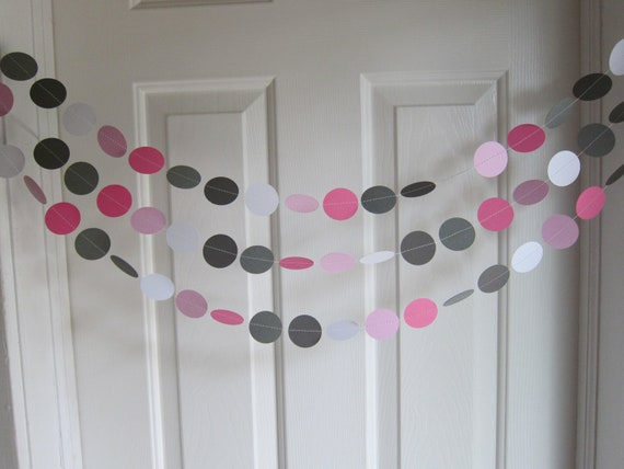 Pink and Gray Garland, Paper Garland, Birthday Garland, Pink Bridal Shower Garland, Baby Girl Shower Decorations