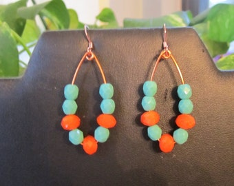 Orange and Turquoise Earrings