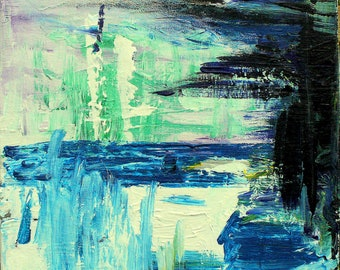 abstract painting blue green black