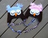 Twin baby boy and girl SLEEPY OWL earflap hat  GREAT Photography Prop