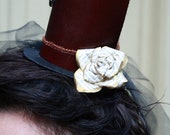 Steampunk/Victorian Leather Mini Top Hat- Red and Black