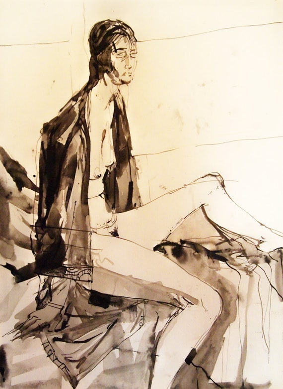 Figure Painting. Watercolor. Ink Wash. Female Nude. Abstract Expressionism.