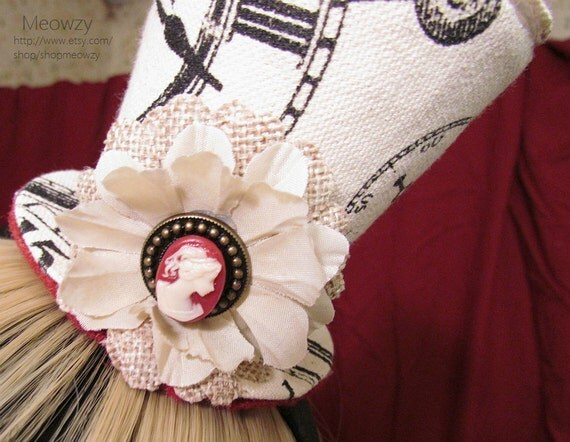Clockwork Cameo Mini Top Hat with Red Lace