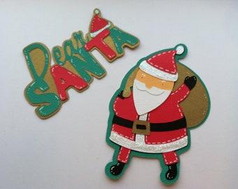 Santa Claus Scrapbooking, Santa Die Cut, Christmas Die Cut, Christmas Scrapbooking, Christmas Embellishments 2 pc