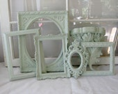 Shabby Chic Mint Set of 6 Frame and Shelf Collection -Gallery Collection - Frames - Shelf - Home Decor - Paris Apt Chic - Antique Frames