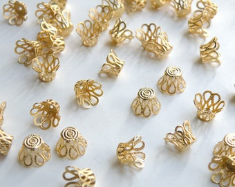 50 Bead caps scalloped basket shiny gold plated brass 9mm (fits 9-11mm beads) 6003FN