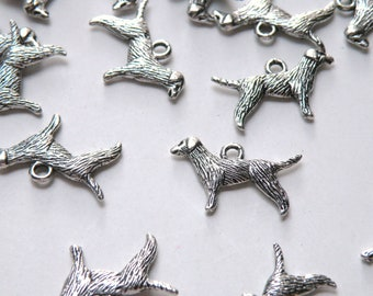 10 Dog standing charms retriever Chinese Zodiac Year of the Dog antique silver 25x15mm MB0003