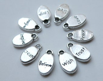 10 Inspirational words oval charms affirmation messages antique silver 15x8mm Insp2