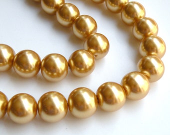 Gold glass pearl beads round 16mm full strand 2047GL