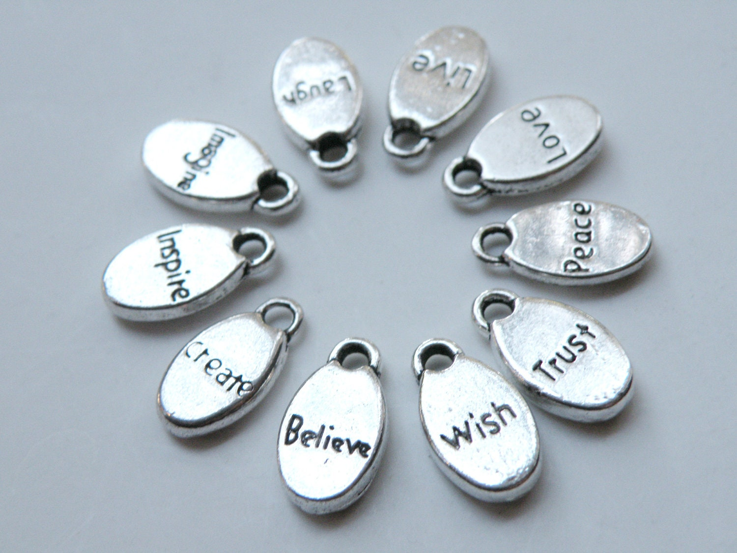10 inspirational words oval charms affirmation messages