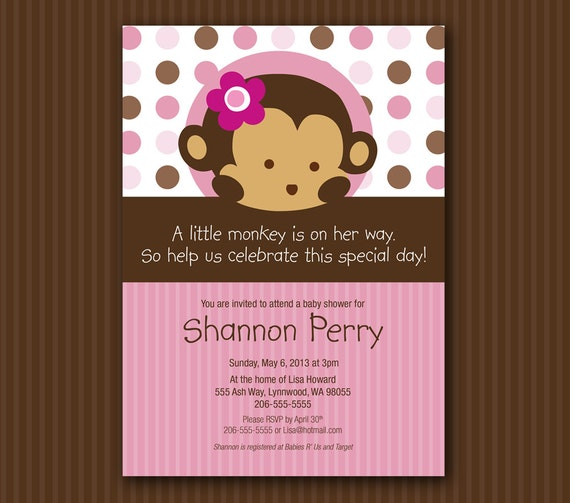 pink monkey baby shower invitation matches mod pod pop monkey, Baby shower invitations