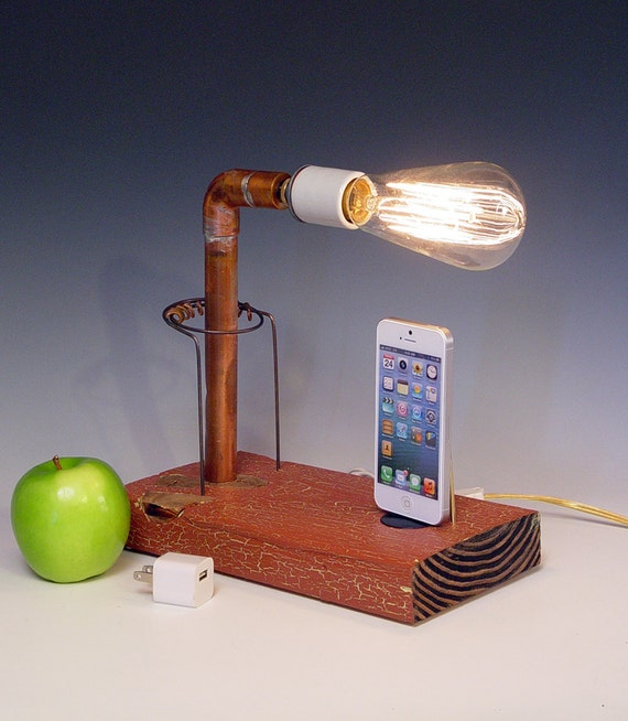 iphone dock and table lamp recycled wood copper pipes. Black Bedroom Furniture Sets. Home Design Ideas
