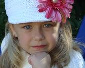 RESERVE FOR KF - Rosy Pink Gerbera Daisy with Pearl Center and White Crochet Newsboy Cap