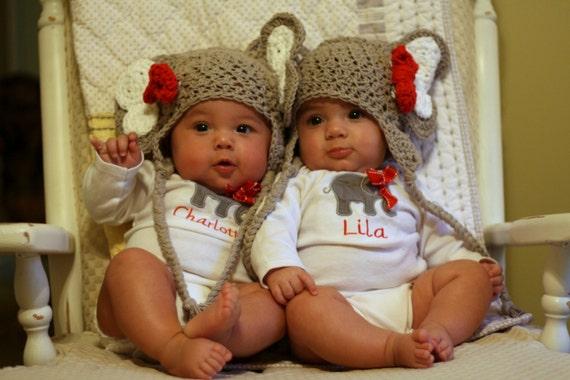 Newborn Black Baby Twins Twin crochet elephant hat with