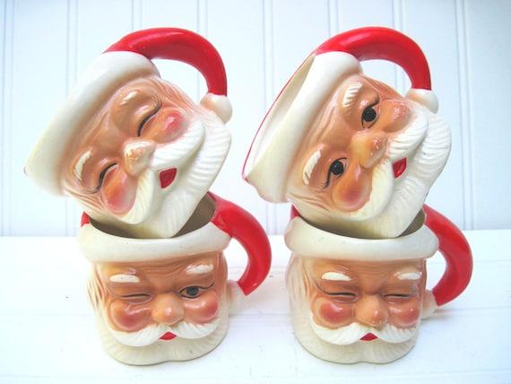 Santa mug christmas vintage cups,