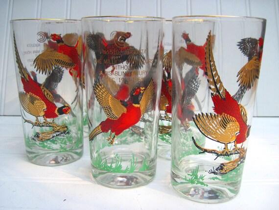 Vintage pheasant glassware, bird hunting,hunt club,pheasant, bird glasses