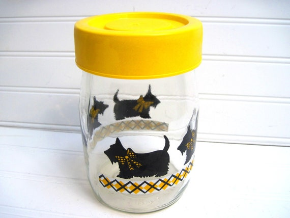 Scottie dog canister, vinatge canister, yellow and black,scottish terrier,scottie dog storage